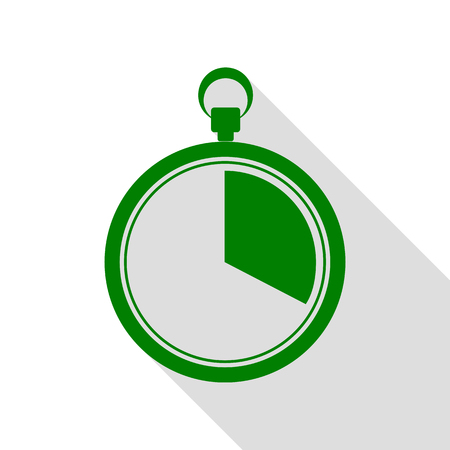seconds: The 20 seconds, minutes stopwatch sign. Green icon with flat style shadow path.