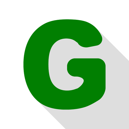 Letter G sign design template element. Green icon with flat style shadow path. Illustration