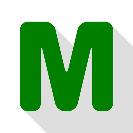 Letter M sign design template element. Green icon with flat style shadow path.
