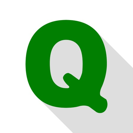 Letter Q sign design template element. Green icon with flat style shadow path.