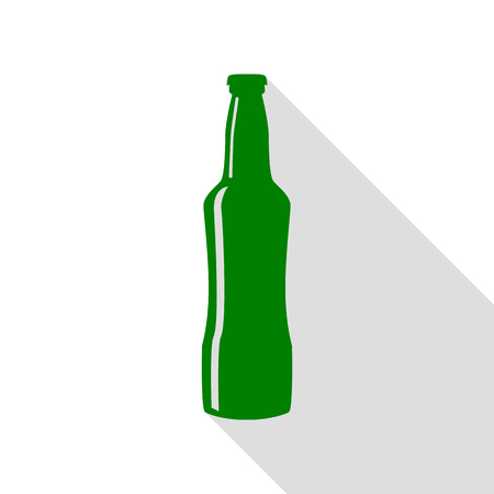 Beer bottle sign. Green icon with flat style shadow path. Illustration