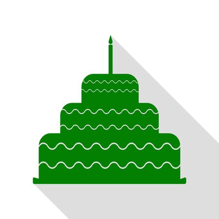 Cake with candle sign. Green icon with flat style shadow path. Illustration