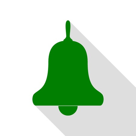 Bell Alarm, handbell sign. Green icon with flat style shadow path.
