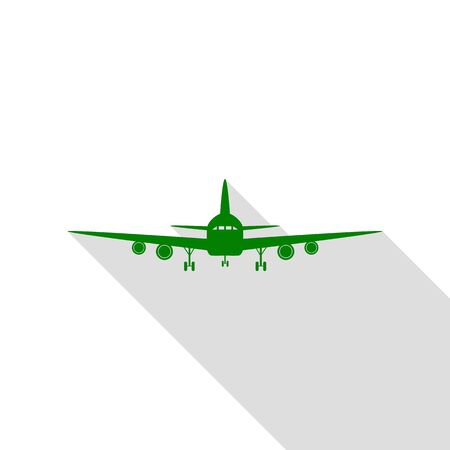 Flying Plane sign. Front view. Green icon with flat style shadow path. Illustration