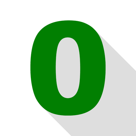 Number 0 sign design template element. Green icon with flat style shadow path.