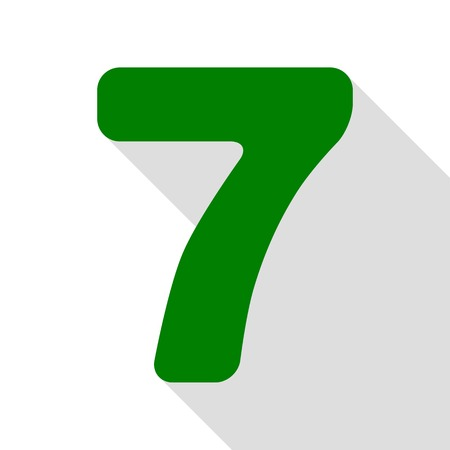 Number 7 sign design template element. Green icon with flat style shadow path. Illustration