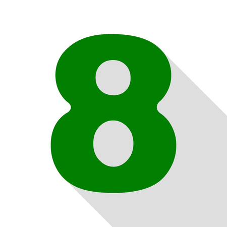 Number 8 sign design template element. Green icon with flat style shadow path.