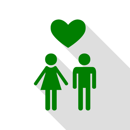 Family symbol with heart. Husband and wife are kept each other`s hands. Love. Green icon with flat style shadow path.