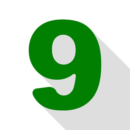 divisions: Number 9 sign design template element. Green icon with flat style shadow path.