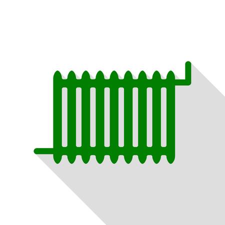 gas radiator: Radiator sign. Green icon with flat style shadow path. Illustration