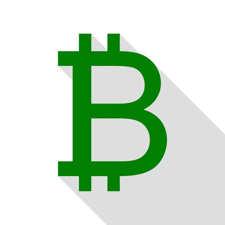 Bitcoin sign. Green icon with flat style shadow path.