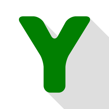 sans: Letter Y sign design template element. Green icon with flat style shadow path.