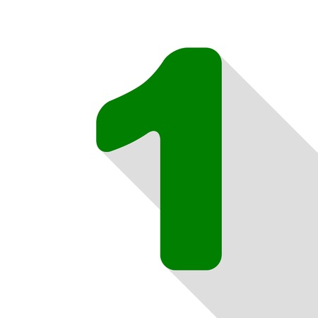 Number 1 sign design template element. Green icon with flat style shadow path.