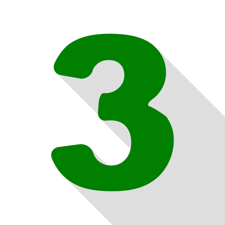 Number 3 sign design template element. Green icon with flat style shadow path.