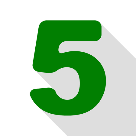 Number 5 sign design template element. Green icon with flat style shadow path.