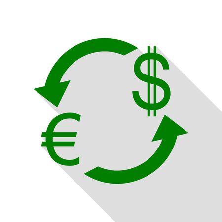 Currency exchange sign. Euro and Dollar. Green icon with flat style shadow path.