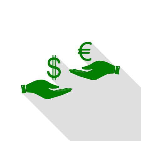 Wisselkantoor van hand tot hand. Dollar adn Euro. Groen pictogram met vlakke stijl schaduw pad.