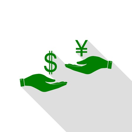 Currency exchange from hand to hand. Dollar and Yen. Green icon with flat style shadow path. Illustration