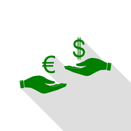 Currency exchange from hand to hand. Euro and Dollar. Green icon with flat style shadow path. Illustration