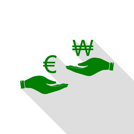 won: Currency exchange from hand to hand. Euro and Won. Green icon with flat style shadow path.