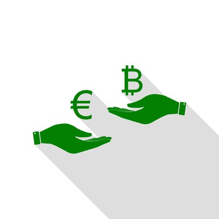 Currency exchange from hand to hand. Euro an Bitcoin. Green icon with flat style shadow path.