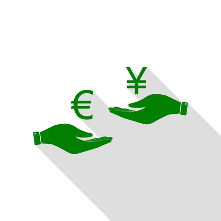 Currency exchange from hand to hand. Euro and Yen. Green icon with flat style shadow path. Illustration
