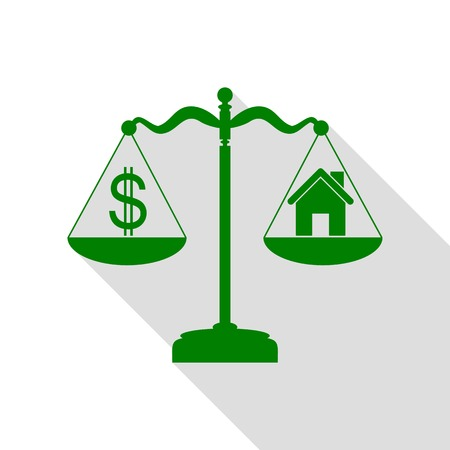 weigher: House and dollar symbol on scales. Green icon with flat style shadow path.