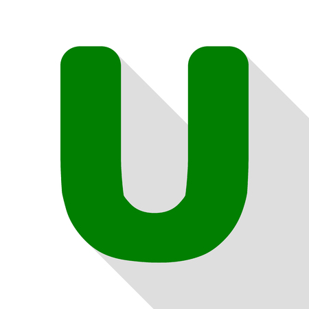 sans: Letter U sign design template element. Green icon with flat style shadow path. Illustration