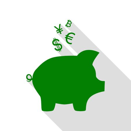 Piggy bank sign with the currencies. Green icon with flat style shadow path.
