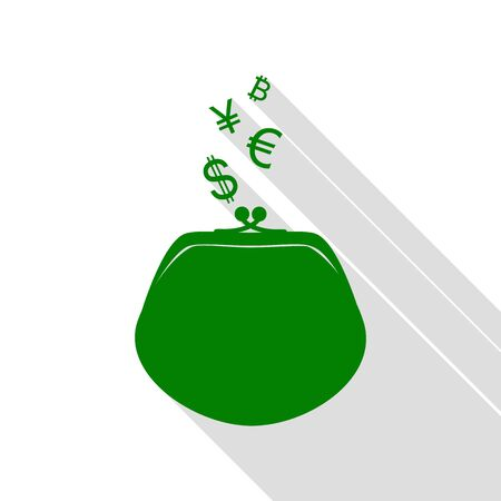 art processing: Wallet sign with currency symbols. Green icon with flat style shadow path.