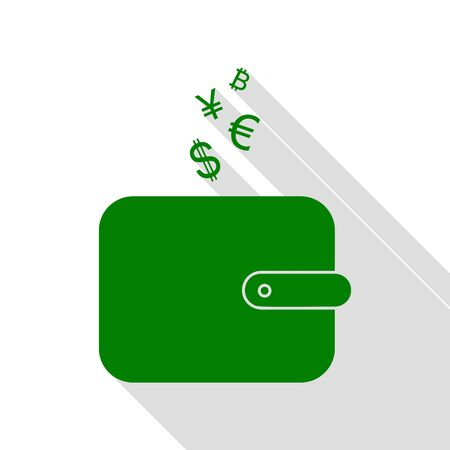 Wallet sign with currency symbols. Green icon with flat style shadow path.