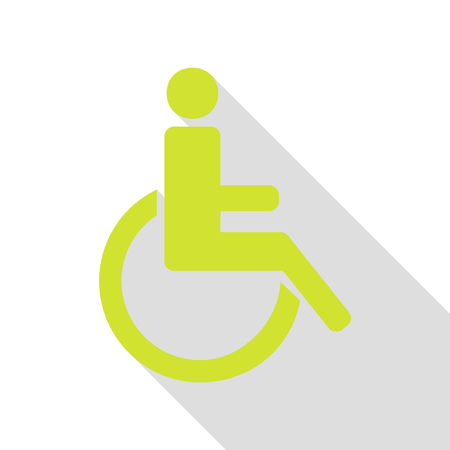 Disabled sign illustration. Pear icon with flat style shadow path. Illustration