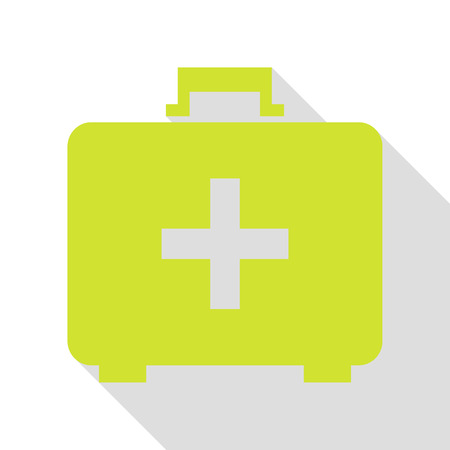 Medical First aid box sign. Pear icon with flat style shadow path.