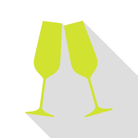 Sparkling champagne glasses. Pear icon with flat style shadow path.