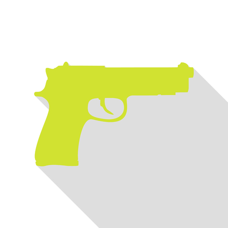 Gun sign illustration. Pear icon with flat style shadow path.