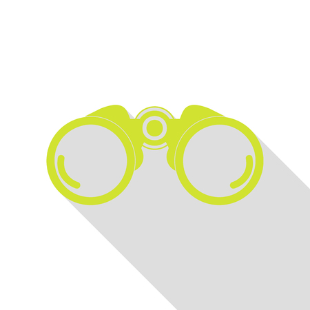 Binocular sign illustration. Pear icon with flat style shadow path.