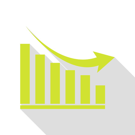 Declining graph sign. Pear icon with flat style shadow path. Illustration