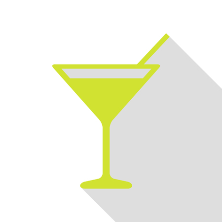 Cocktail sign illustration. Pear icon with flat style shadow path.