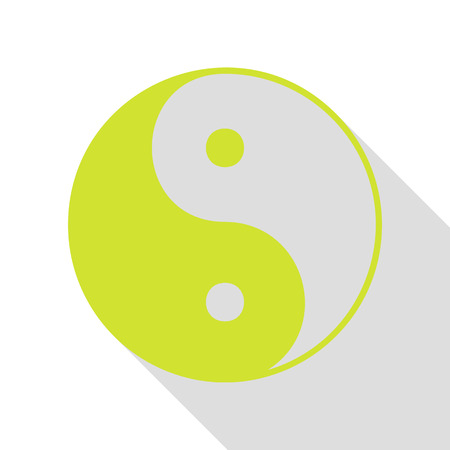Ying yang symbol of harmony and balance. Pear icon with flat style shadow path.