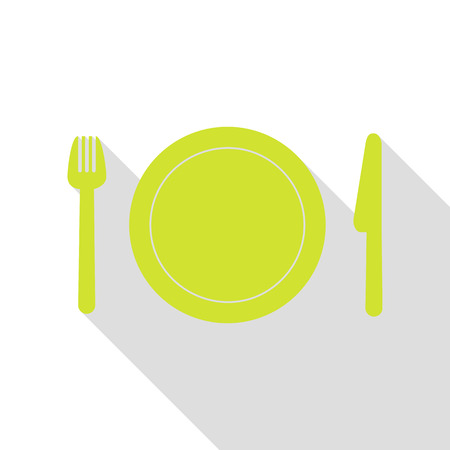 Fork, plate and knife. Pear icon with flat style shadow path.