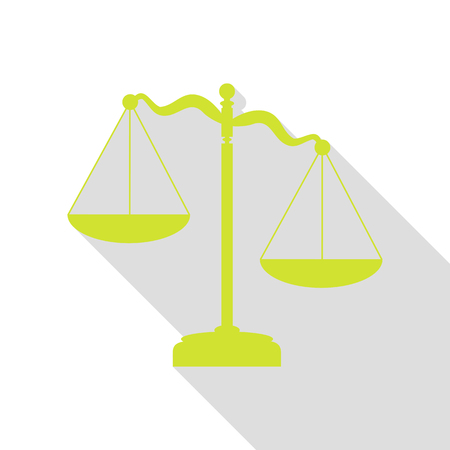 Scales of Justice sign. Pear icon with flat style shadow path.