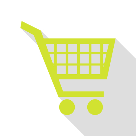 Shopping cart sign. Pear icon with flat style shadow path.