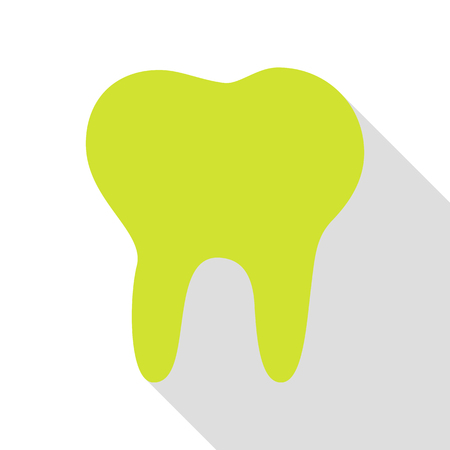 Tooth sign illustration. Pear icon with flat style shadow path.