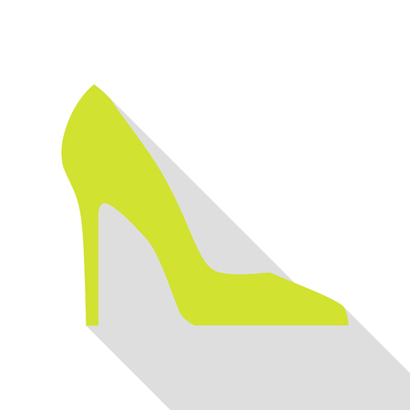woman shadow: Woman shoe sign. Pear icon with flat style shadow path.