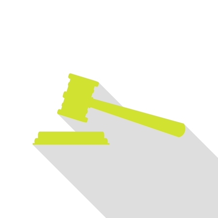 Justice hammer sign. Pear icon with flat style shadow path.