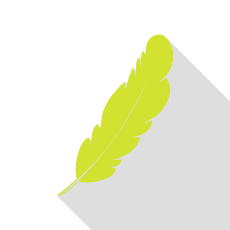ink pot: Feather sign illustration. Pear icon with flat style shadow path.