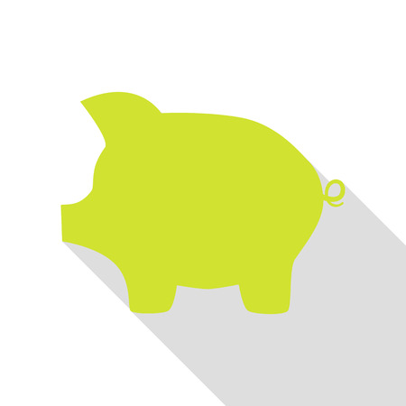 Pig money bank sign. Pear icon with flat style shadow path.