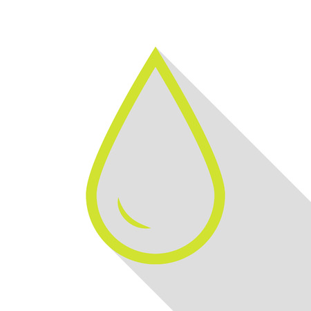 filling station: Drop of water sign. Pear icon with flat style shadow path. Illustration