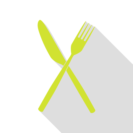 Fork and Knife sign. Pear icon with flat style shadow path.
