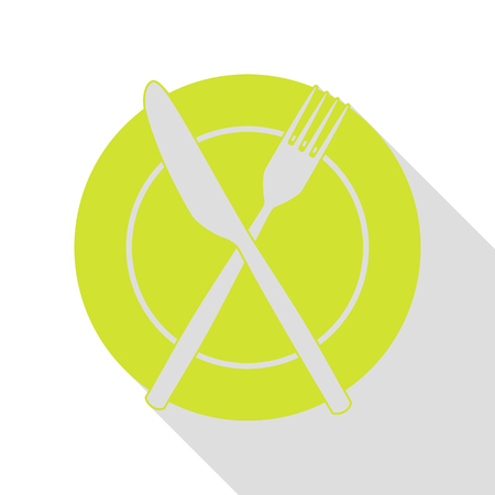 Fork, tape and Knife sign. Pear icon with flat style shadow path.